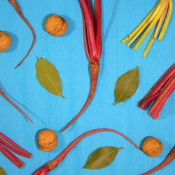 Composition of fresh beets with tops, bay leaves and walnuts on a blue background. Healthy food for the circulatory system. Top view, flat lay.