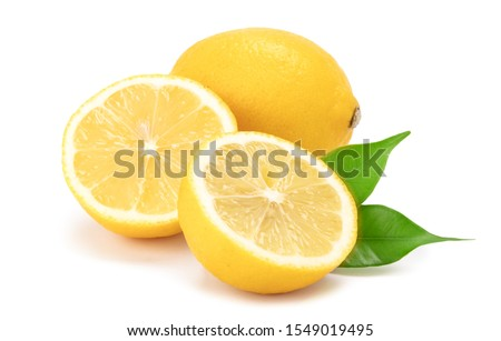 Composition of fresh lemons isolated on a white background