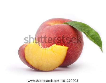Composition of fresh peaches with leaf, isolated on white background, with clipping paths