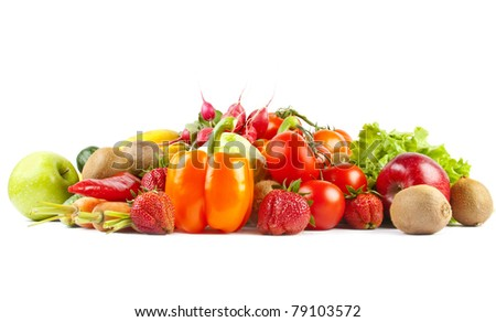 Composition of fruits and vegetables on white background #79103572