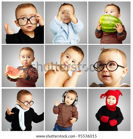 composition of funny baby over grey background