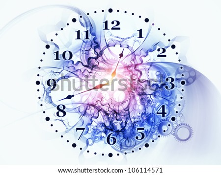 Composition of gears, clock elements and dynamic swirly lines suitable as a backdrop for the projects on scheduling, temporal and time related processes, deadlines, progress, past, present and future