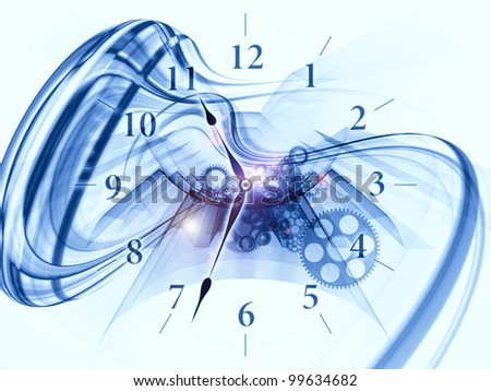 Composition of gears, clock elements, dials and dynamic swirly lines on the subject of scheduling, temporal and time related processes, deadlines, progress, past, present and future