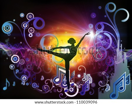 Composition of girl silhouette, notes, lights and abstract design elements on the subject of music, song, performance and dance