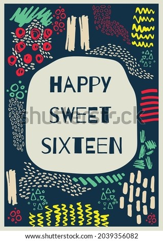 Composition of happy sweet sixteen text in grey bubble with colourful patterns on dark background. sixteenth birthday greetings card template concept digitally generated image.