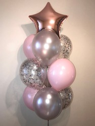 Composition of helium balloons silver and pink, cristal balloons with silver confeety as well as a pink-gold star