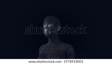 Composition of human bust formed with binary coding on black background. global online identity and security concept digitally generated image.