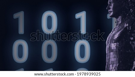 Composition of human bust formed with binary coding on black background. global online security, technology, connections and networking concept digitally generated image.