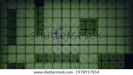 Composition of human face and cubes on green background. global online identity and security concept digitally generated image.