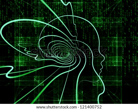 Composition of  human head and fractal grids to serve as a supporting backdrop for projects on science, technology and intelligent life in the Universe