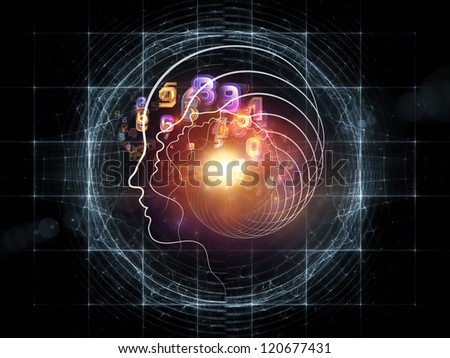 Composition of human head and fractal grids with metaphorical relationship to science, technology and intelligent life in the Universe - stock photo