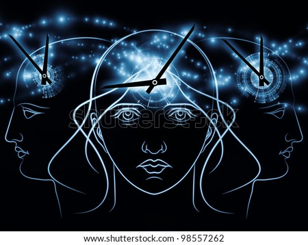 Composition of human head outline, clock elements  as a concept metaphor for time and technology related issues