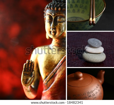 Composition of images - buddha, stones, teapot, chopsticks. Zen lifestyle.