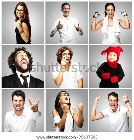 composition of joyful people over grey background