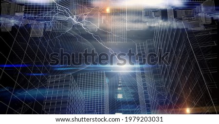Composition of lightning and glowing points ver cityscape at night. global connections, networking and business concept digitally generated image. Foto stock ©