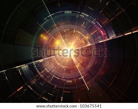 Composition of lights, fractal concentric grids, technological lines suitable as a backdrop for the projects on science, energy, signal processing  and modern technologies
