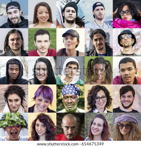 Composition of multiethnic portraits of young adults with expressive faces #654675349