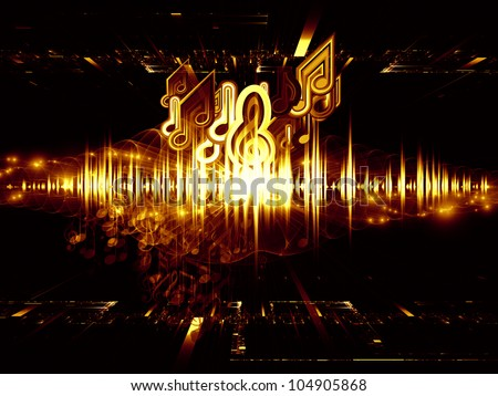 Composition of musical notes, perspective fractal grids, lights, wave and sine patterns on the subject of music, sound equipment and processing, audio performance and entertainment