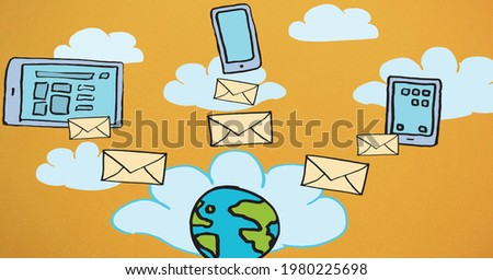 Composition of network of digital icons, electronic devices and globe over clouds on orange sky. global business, technology, connections and networking concept digitally generated image.