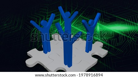 Composition of network of people connections with jigsaw puzzles on circuit board. global networking, technology and connections concept digitally generated image.
