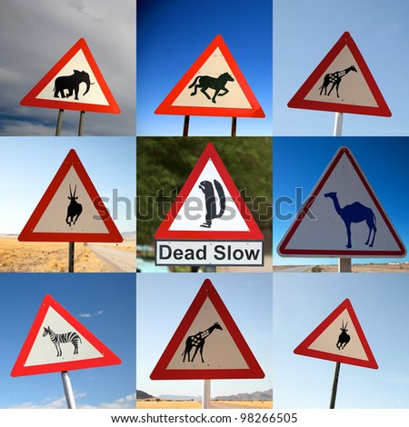 Composition of nine animal crossing signs photographed on the road of Namibia