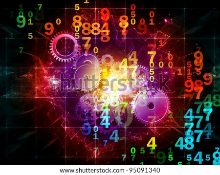 Composition of numbers, lights, gears and abstract design elements as a concept metaphor for digital and computational processes, math and modern technologies