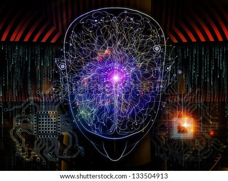 Composition of outlines of human head technological and fractal elements on the subject of artificial intelligence computer science and future technologies