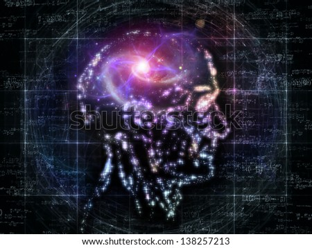 Composition of outlines of human head, technological and fractal elements on the subject of artificial intelligence, computer science and future technologies