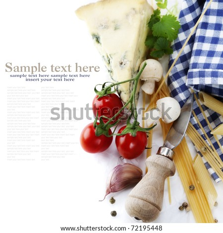 Composition of pasta, vegetables and cheese over white with sample text