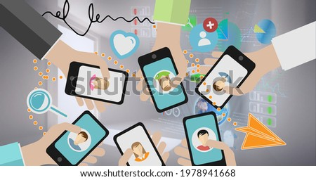 Composition of people holding smartphones with social media icons. global technology, connections and networking concept digitally generated image.