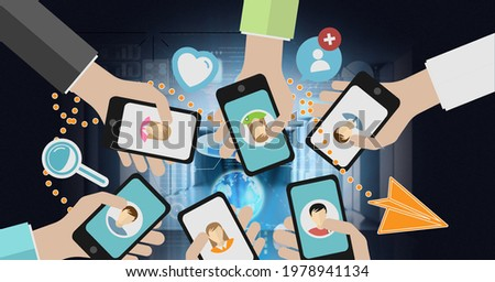 Composition of people holding smartphones with social media icons over computer servers. global technology, connections and networking concept digitally generated image.