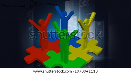 Composition of people's silhouettes with arms up in air on jigsaw puzzles and circuit board. global technology, connections and networking concept digitally generated image.