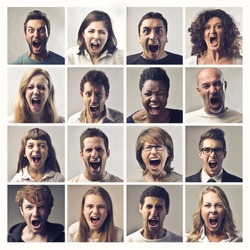 Composition of people screaming