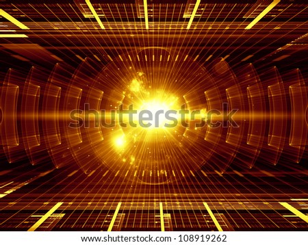 Composition of perspective fractal grids, lights, mathematical wave and sine patterns as a concept metaphor on subject of modern technologies, energy, signal processing, music and entertainment