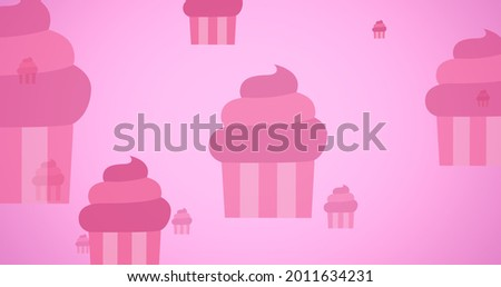 Composition of pink cupcakes on pink background. breast cancer positive awareness campaign concept digitally generated image.
