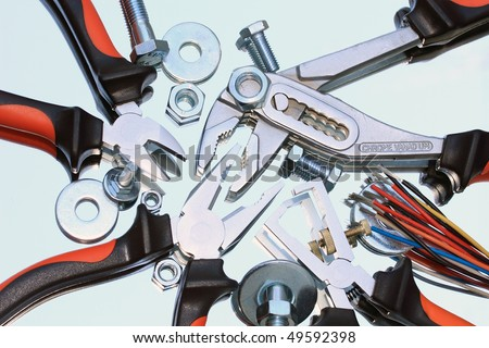 composition of pliers with mirror reflection