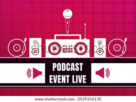 Composition of podcast live event text with music equipment on red background. podcast promotional communication concept digitally generated image.