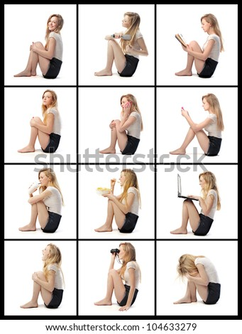 Composition of portraits of the same isolated young woman doing various activities