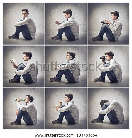 Composition of portraits of the same young man doing different things