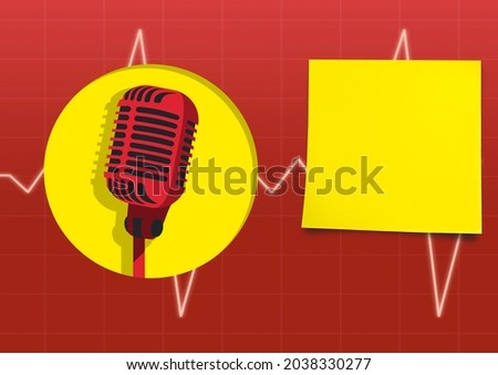 Composition of red retro microphone, yellow circle and square over heartbeat monitor on red. music and singing event communication concept, template with copy space digitally generated image.