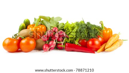 Composition of ripe vegetables on white background
