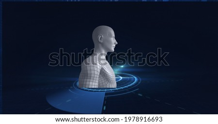 Composition of scope scanning with human body formed with grey particles. global science, technology and data processing concept digitally generated image.