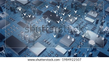 Composition of screen with white arrows ver computer processor circuit board server. global connections, technology and digital interface concept digitally generated image. Foto stock ©