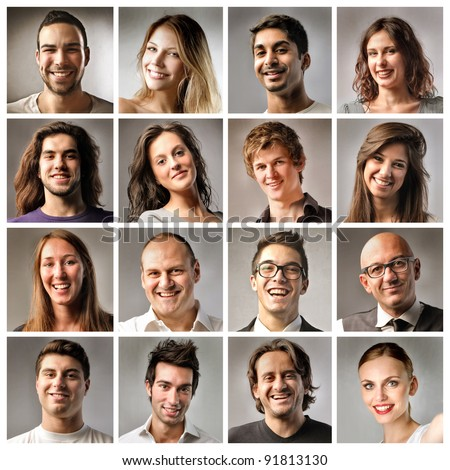 Composition of smiling people