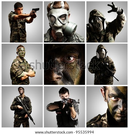 composition of soldiers over grey background