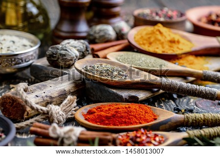 Composition of Spices and seasonings for cooking on the table