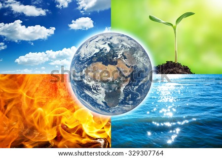 Composition of the four natural elements and Earth. Elements of this image  furnished by NASA