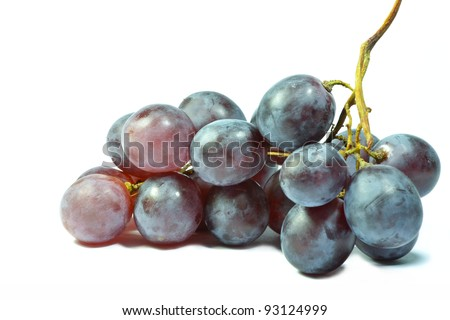 composition of the ripe grapes on a white background