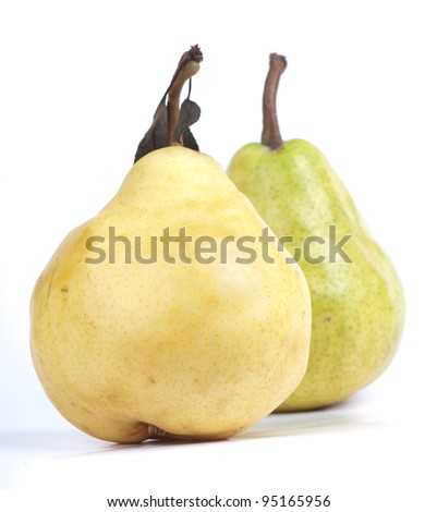 composition of the ripe pear on a white background. studio photography
