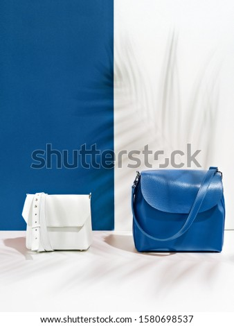 Composition of two stylish cross body bags on a double classic blue and white backdrop. Trendy handbags in a shadow of tropic leaves . Color of the year 2020. Main color trend. Copy space for text.